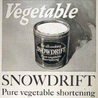 vintage black and white ad for vegetable shortening