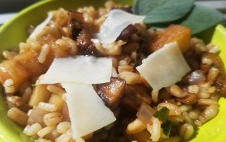 Autumn Barley Salad dressed with Sage and Wild Mushroom olive oil and Sunday Morning Maple Balsamic Vinegar
