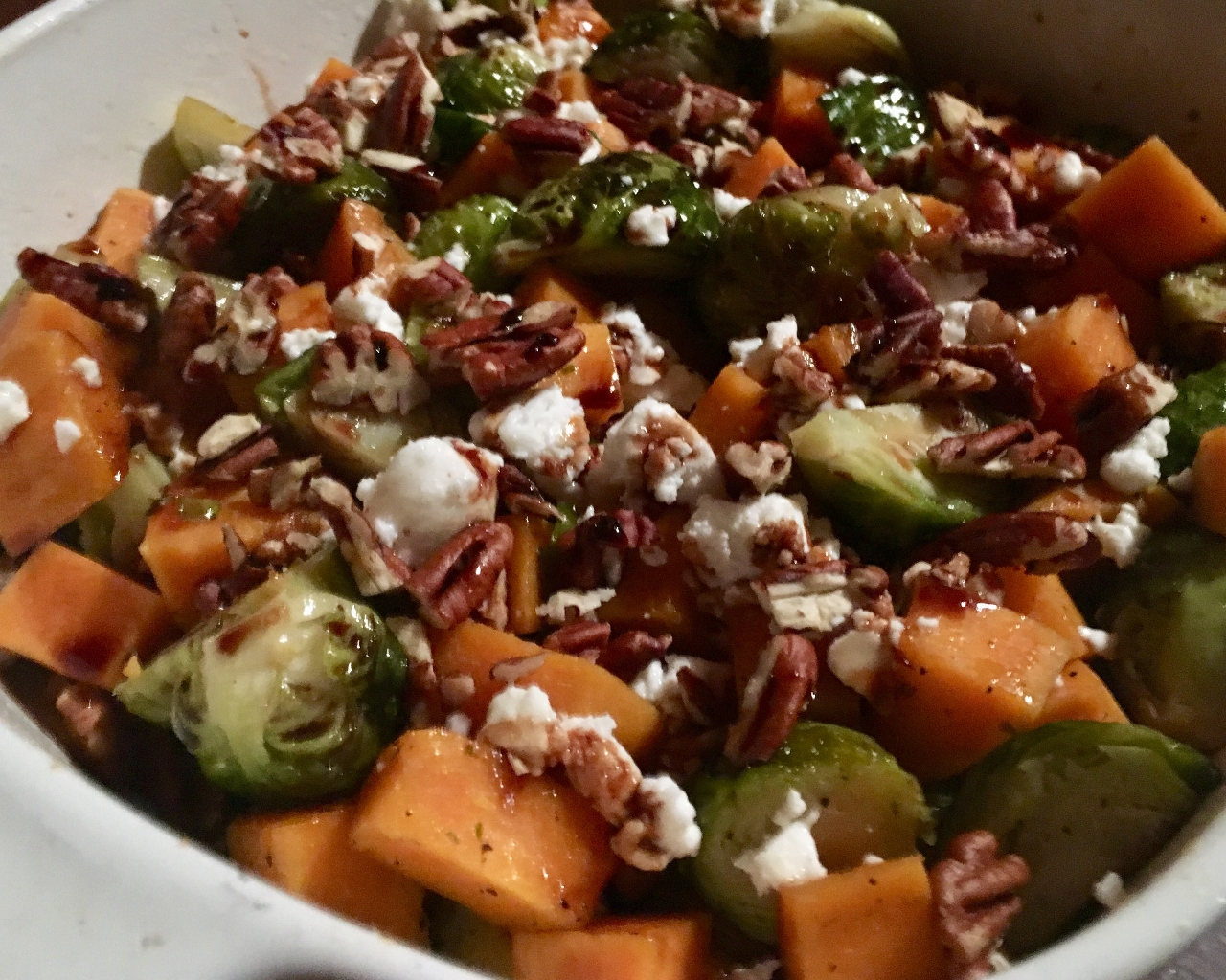 Balsamic Glazed Sweet Potatoes & Brussels Sprouts