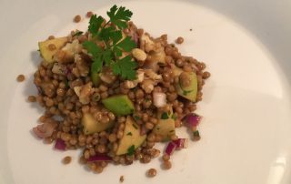 pearl couscous with apples and walnuts with a apple balsamic and fresh pressed meyer lemon dressing