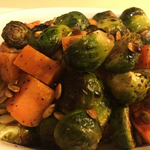 roasted brussels sprouts and sweet potatoes with a sage and wild musroom olive oil and Mediterranean Cassis Balsamic glaze